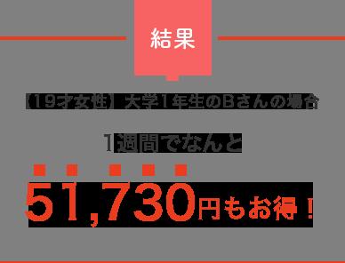 結果 【19才女性】大学1年生のBさんの場合 1週間でなんと 51,730円もお得!